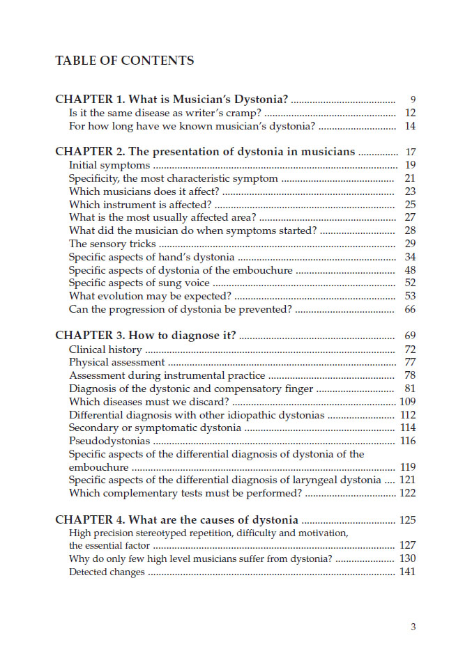dystonia table 1